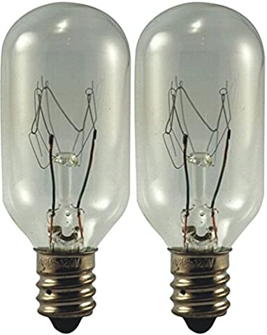 EiKO 25T8C120V Model 25T8C-120V Miniature Halogen Bulb (2-Pack), 120 Voltage Rating, 25 Watts, 0.21 Amps, Candelabra Screw (E12) Base, T-8 Bulb, C-7A Filament, 2.63