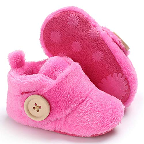BENHERO Baby Newborn Crib Cozy Fleece Winter Booties Non Skid Soft Sole Shoes Warm Winter Socks (3-6 Months M US Infant), A-Rose ()