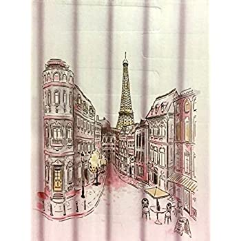 Tahari Paris Street In Color Fabric Shower Curtain With Eiffel Tower,  Salmon Pink