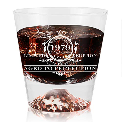 1979 vintage wine glass 40th Birthday Gifts for Men and Women Kithumi Whiskey Glass-Vintage 1979 Wine Glass Funny Anniversary Gift Ideas for Mom, Dad,Husband,Wife-Party Decorations-11 ()