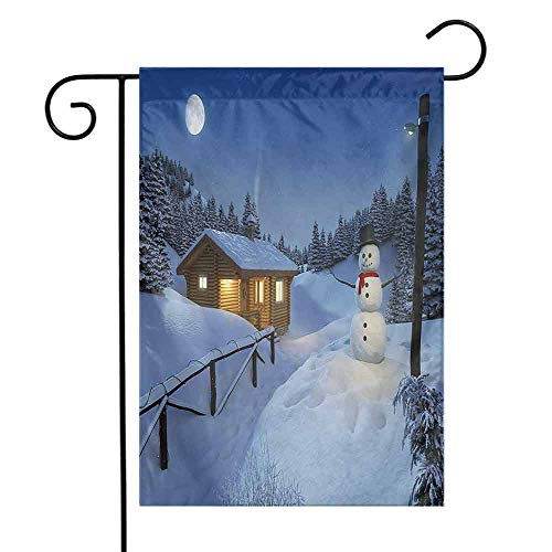(Mannwarehouse Christmas Garden Flag Wooden Rustic Log Cottage Scenery in The Winter Season Warm Moonlight Spirit Decorative Flags for Garden Yard Lawn W12 x L18 Blue White)