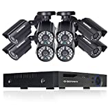 DEFEWAY 8ch Video Security System with 8Channel 1080N DVR, 8 Weatherproof 720P HD Cameras, Indoor & Outdoor, 100ft Night Vision, Motion Detection, NO HDD For Sale