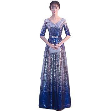 Scytsd Vestido Dorado De Lentejuelas Para Mujer Sección