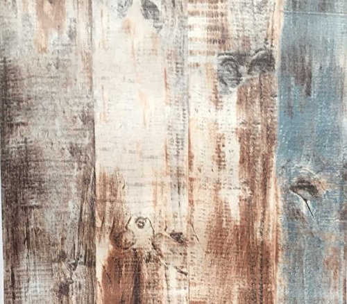Country Rustic Wood Plank Wallpaper, Vintage Brown Green Distressed Wood Panel Wallpaper (Unpasted) Roll 20.8 inch x 32.8 feet, 1 Roll ()