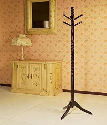 Frenchi Furniture Swivel Coat Rack Stand in Cherry Finish - Hall Tree Style Coat Hat