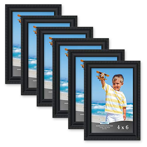 Icona Bay 4x6 Picture Frames (6 Pack, Black) Picture Frame Set, Wall Mount or Table Top, Set of 6 Inspirations Collection ()