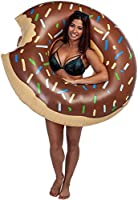 Yarssir Giant Donut Pool Float, Funny Inflatable Vinyl Summer Pool Beach Toy, Chocolate Strawberry Donut Swim Ring FLOTADOR for Kids and Adults(Chocolate ...