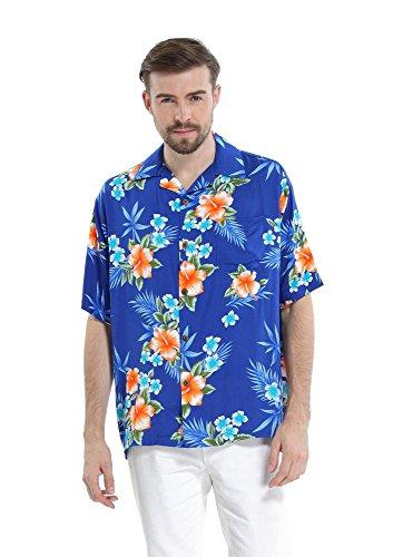 [Hawaii Hangover Men's Hawaiian Shirt Aloha Shirt L Hibiscus Blue] (Hibiscus Blue Aloha Shirt)