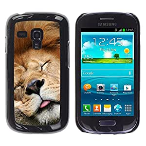 Slim Protector Shell Hard Case Cover for Samsung Galaxy S3 MINI NOT REGULAR! I8190 I8190N Funny Sleeping Lion Tired Sleepy Cute / STRONG