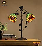 Makenier Vintage Decorative Tiffany Style Stained Glass 2-light Green Dragonfly Wrought Iron Table Lamp - 5.5 Inches Shade