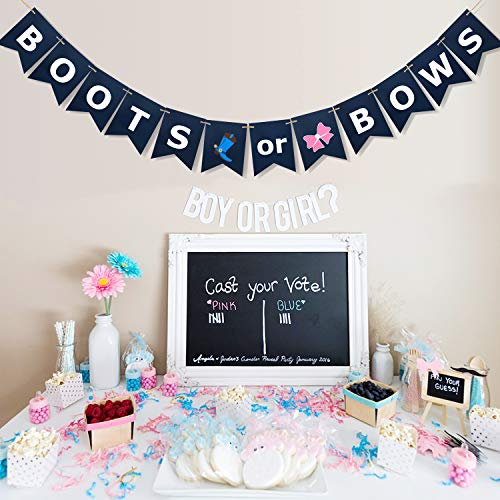 Boots or Bows Gender Reveal Banner for Cowboys Themed Baby Shower, Wild West Baby Reveal Party Decorations- Baby Girl Or Baby Boy Announcement -