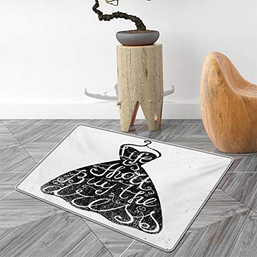 Lifestyle Door Mat Rug Life is Short Buy The Dress Motivational Quote on Hanger Positive Illustration Bath Mat 3D Digital Printing Mat 2'x3' Brown White (Buy Rug Zebra)