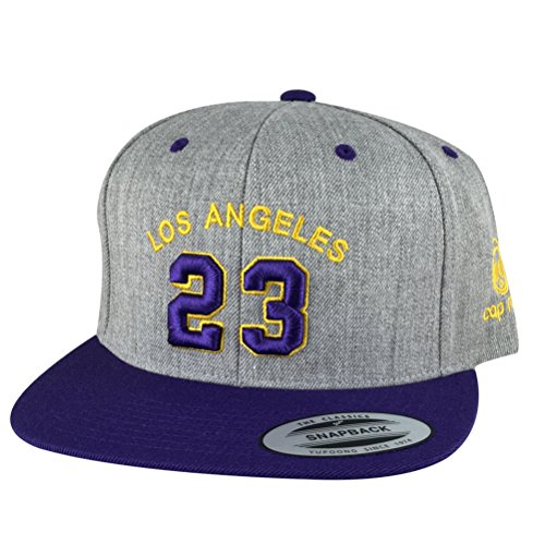 Los Angeles Player #23 Heather Custom Embroidered Baseball Hat Snapback Cap - Heather Grey/Purple / Gold/Purple