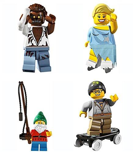 LEGO 8804 Minifigure Series 4 Collectible Bundle Figure Set: Werewolf Monster, Ice Figure Skater, Fisherman Lawn Gnome, Skateboarder ()