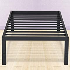 PrimaSleep 18inch tall black metal bed frame with dura steel slat, mattress platform foundation aps - 3500 gives your bed a modern industrial look with sufficient space for under bed storage. This model has less legs under the frame than othe...