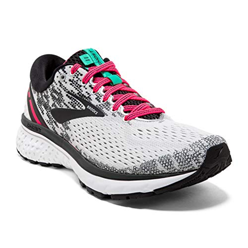 Brooks Womens Ghost 11 Running Shoe - White/Pink/Black - B - 9.5