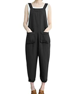 ece5072e5be7 Celmia Women s Strappy Jumpsuits Overalls Casual Harem Pants Wide Leg Low  Crotch Loose Trousers