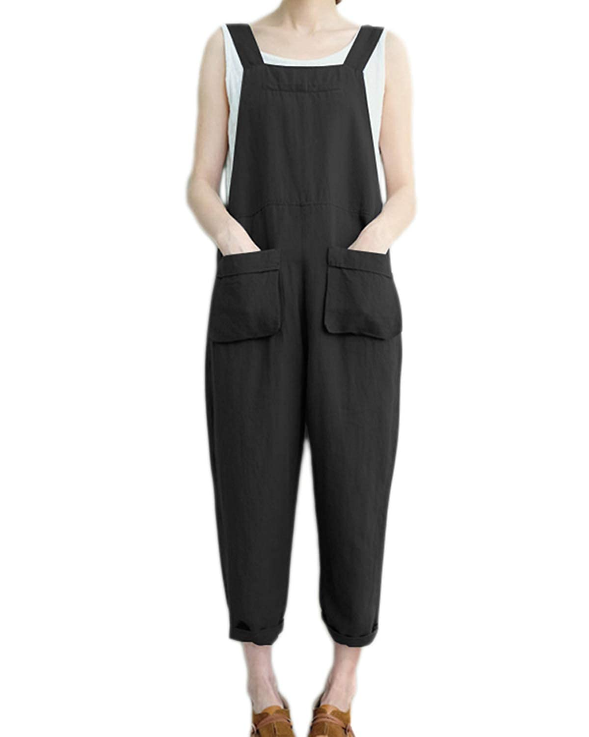 cdcd5f1cc9c Amazon.com  Celmia Women s Strappy Jumpsuits Overalls Casual Harem Pants Wide  Leg Low Crotch Loose Trousers  Clothing