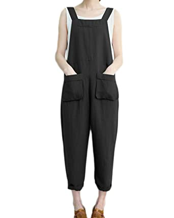 458103cc92a Celmia Women Strappy Harem Jumpsuit Retro Loose Turnip Rompers Baggy  Overalls Black S