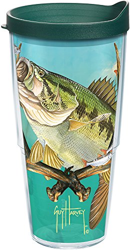 Tervis 1252066 Guy Harvey - Bass and Antlers Tumbler with Wrap and Hunter Green Lid 24oz, Clear