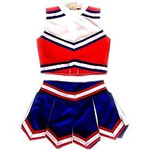 American Mini Kids Girl Cheerleader Uniform Costume Cosplay Karneval Outfit Red/Blue/White
