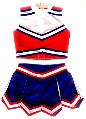 Little Girls' Cheerleader Cheerleading Outfit Uniform Costume Cosplay Red/Blue/White (M / 5-8)