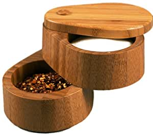 Totally Bamboo Double Salt Box, Bamboo Container with 2 Compartments and Magnets For Secure Storage