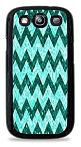 Chic Green and Teal Chevron Pattern Black Hardshell Case for Samsung Galaxy S3