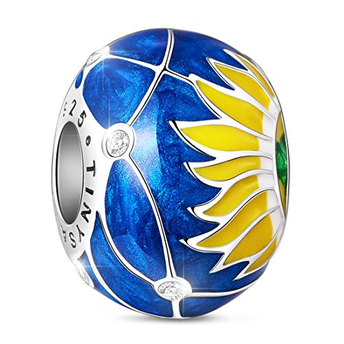 TINYSAND 925 Sterling Silver Blue Enamel Sunflower Charms with Cubic Zirconias, Flower Bead for European Bracelets, Valentines Day Gifts ()