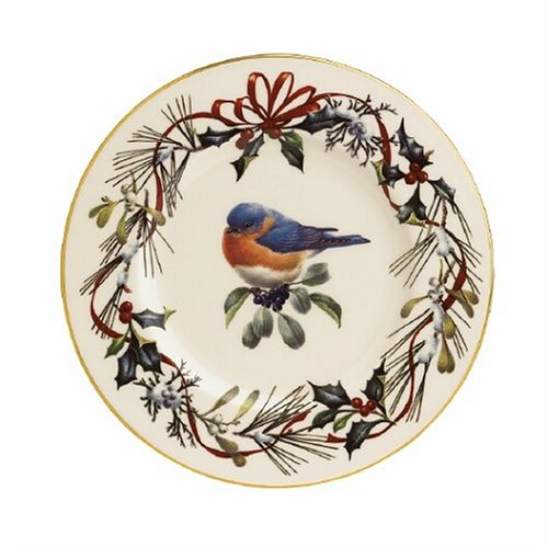 Lenox Winter Greetings Gold Banded Ivory China Eastern Bluebird 9 Accent Plate