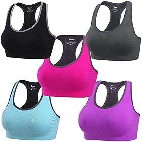 BAOMOSI Women's Seamless High Impact Support Racerback Workout Yoga Sports Bra