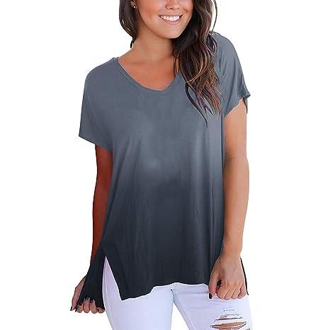 2929b78390cf7 Bluestercool T-Shirt Femme Mode Manches Courtes Col en V Tee Shirt Couleur  Dégradé Casual
