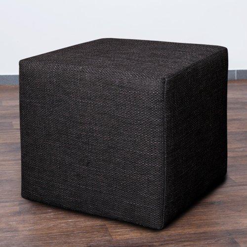 Möbelbär 8009-08 Sitz-würfel / -hocker 45 x 45 x 45 cm, bezogen mit robustem Magma Webstoff, dunkelgrau / anthrazit