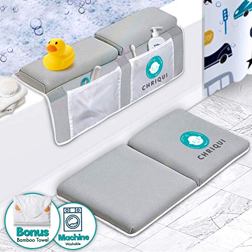 Bath Kneeler with Elbow Rest Pad Set, Thick Kneeling Pad and Elbow Support for Knee & Arm Support Large Padded Bathtub Kneeling Mat with Toy Organizer for Happy Bathing Time - Bonus Bamboo Towel
