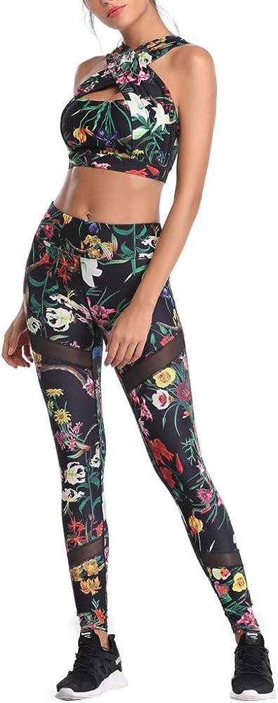 CiKiXZi Tuta da Yoga Set da Donna Stampa Floreale Sportivo Collo Incrociato Top e Pantaloni Elastici per Palestra Pilates Yoga Tuta da Allenamento per Fitness Donna Completa