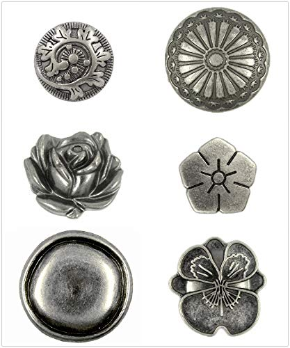 Bezelry 24 Pieces Mixed Flower Gray Silver Color Metal Buttons. 4 Pieces per Style. ()
