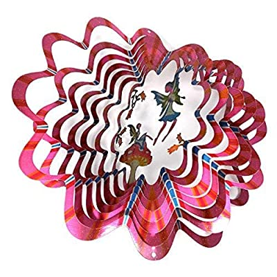WorldaWhirl Whirligig 3D Wind Spinner Hand Painted Stainless Steel Twister Fairy Mushroom (6.5 Inch, Multi Color) : Garden & Outdoor