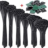 AUSTOR 1200 Pieces Zip Ties and Adhesive Zip Tie Mounts Kit Black Nylon Cable Zip Tie in 4/6/8/10/12/14 inches(Including 20 Pieces Cable Tie Mounting Base)
