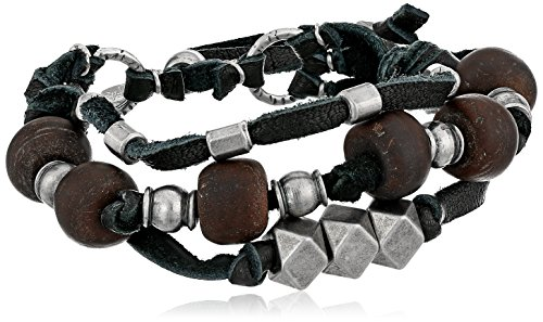 Ettika Leather Black - Ettika Men's Black 3 Strand Leather Bracelet Silver Colored Bodhi Seed and Metal Beads, 3