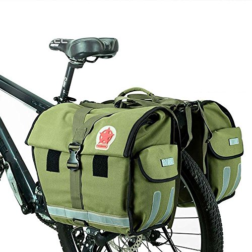Waterproof Double Bicycle Pannier Rear Seat Bag Bike Pouch 40-50L Bike Trunk Rack Bag Bycicle Carrier Bag-Army Green