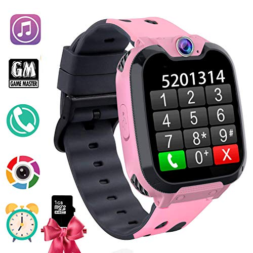 Kids Phone Smartwatch with Games & MP3 Player - 1.54 inch Touch Screen Watch Phone 2 Way Call Music Player Game Funny Camera Alarm Clock Children School Gift for 3-10 Years Old Boys Girls, Pink (Best Ios Games For Toddlers)