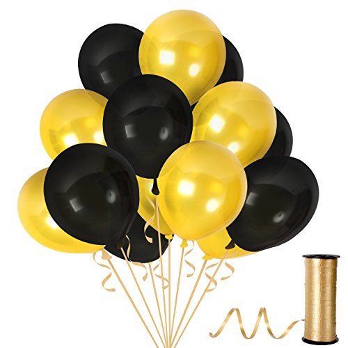 Treasures Gifted Gold Black Metallic Balloons 12 Inch Thick Latex Balloon Pack of 100 with 65 Yard Ribbons Party Supplies for Birthday Bachelorette Graduation Party Decorations