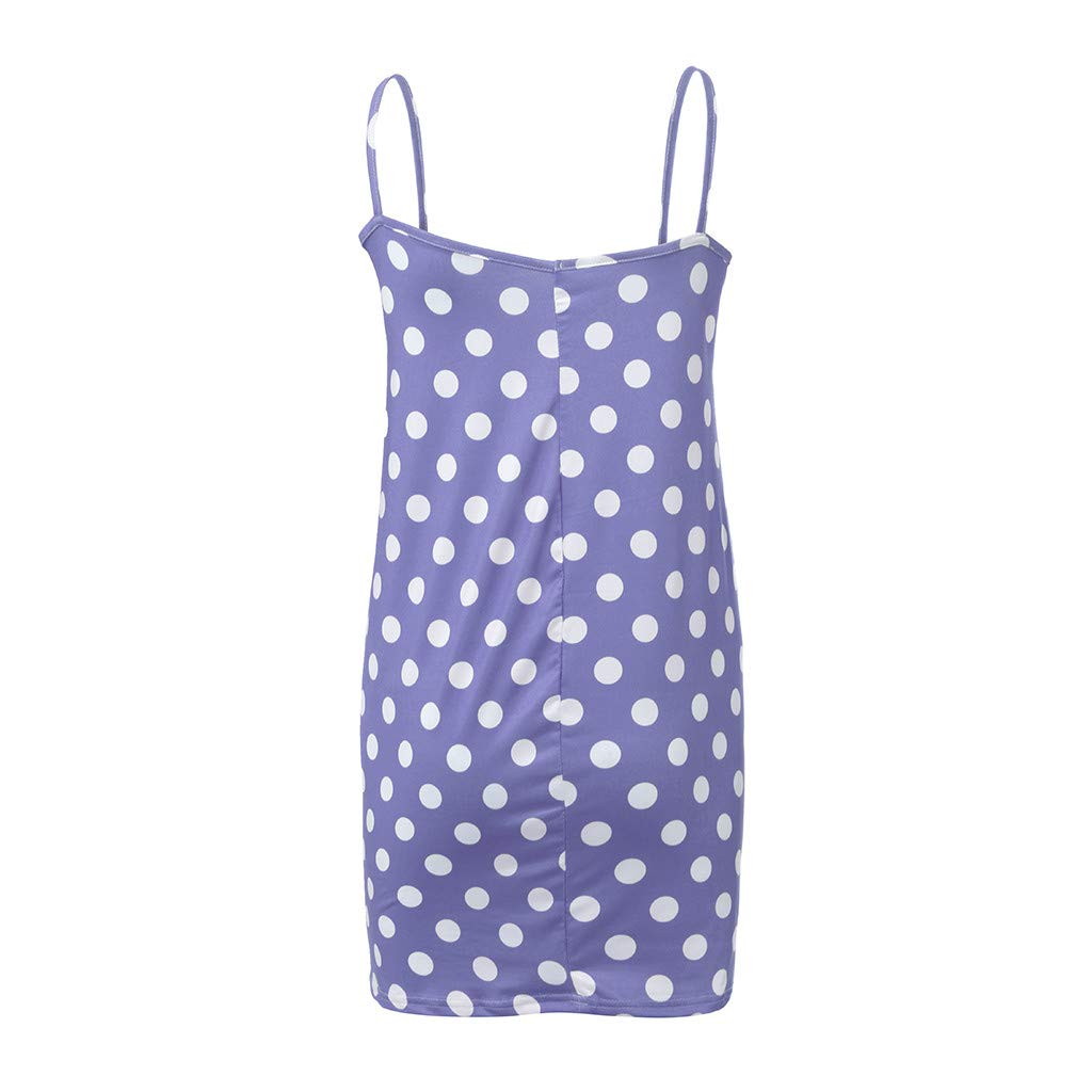 HimTak Women Summer Polka Dot Printed Maternity Dress Sleeveless Bodycon Cami Pregnancy Dresses