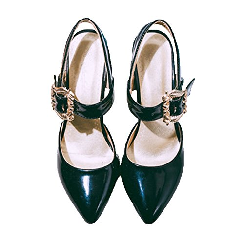 de del tobillo dedo Ladies Nonbrand correa gran zapatos tamaño de pie Negro tacón medio WfKKZc