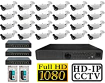 USG 24x Cameras 1080P PoE IP CCTV Kit: 24x 1080P IP PoE 2.8-12mm Bullet Cameras + 1x 24 Channel 1080P NVR + 3x 8 PoE Ports IP CCTV Switch + 2x 3TB HDD *** High Definition Video Surveillance For Your Home or Business!