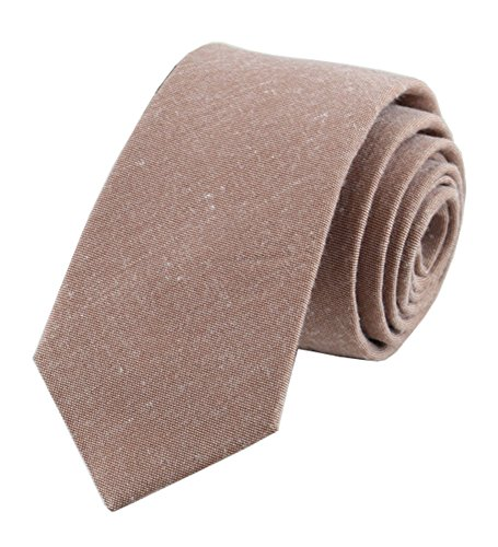 Mens Brown Skinny Ties Fashion Cotton Linen Modern Tan Fall and Winter Neckties