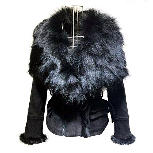 Fur Leather Coat - She'sModa Luxury Suede Real Fox Fur Collar Jacket With Belt Slim Fit Women's Winter Short Coat XL Black