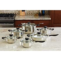 Wyndham House by Justin Wilson 12pc Stainless Steel Cookware Set NEW!