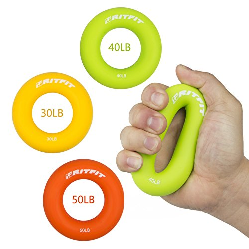 Hand Grip Strengthener Rings,A Forearm Wrist & Finger Exerciser,Life Time Warranty!Perfect Trainer for Rock Climbing, Athletes & Musicians Stress Relief & Rehabilitation,Set of 3 Resistance Levels.