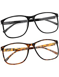Large Nerdy Thin Plastic Frame Clear Lens Glasses